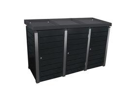 Mülltonnenbox Pacco E Line High für drei 240 Liter Mülltonnen mit Pflanzwannen