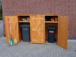 Mülltonnenbox Holz, Modell BQ3, für drei 240 Liter Mülltonnen