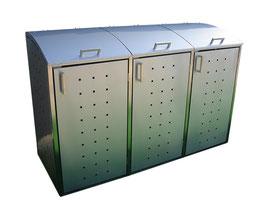 Edelstahl Mülltonnenbehälter Milbo für drei 120 Liter Mülltonnen komplett aus Edelstahl