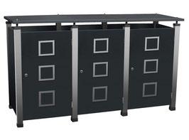 Mülltonnenbox Pacco E Quad2 für drei 240 Liter Mülltonnen mit Edelstahlapplikationen