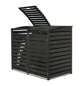 Mülltonnenbox Holz für zwei 240 Liter Mülltonnen in Anthrazitgrau