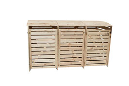 Mülltonnenbox Holz für drei 240 Liter Mülltonnen in Natur