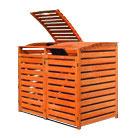 Mülltonnenbox Holz für zwei 240 Liter Mülltonnen in Honigbraun