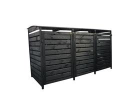 Mülltonnenbox Holz für drei 240 Liter Mülltonnen in Anthrazitgrau