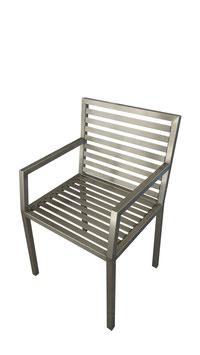 Stuhl aus Edelstahl, Modell Nacco E mit Armlehne