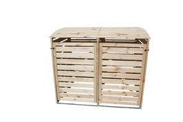 Mülltonnenbox Holz für zwei 240 Liter Mülltonnen in Natur
