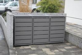 Mülltonnenbox Ecoplus 958003 für drei 240 Liter Mülltonnen in Standard-Grau (mit Rückwand)