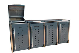 Mülltonnenbox Locco Riggs für vier 120 Liter Mülltonnen mit Klappdeckelbedienung über Fusspedal im Pfosten