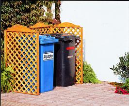 Mülltonnenspalier Holz für zwei 240 Liter Mülltonnen in Honigbraun