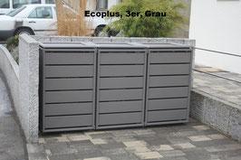 Mülltonnenbox Ecoplus 958065 für drei 120 Liter Mülltonnen in Standard-Grau (mit Rückwand)