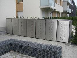 Mülltonnenbox Milbo XP für vier 240 Liter Mülltonnen komplett aus Edelstahl