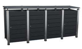 Mülltonnenbox Pacco E Line für vier 240 Liter Mülltonnen