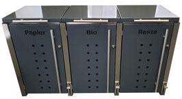 Mülltonnenbox Locco Riggs für drei 120 Liter Mülltonnen mit Klappdeckelbedienung über Fusspedal im Pfosten