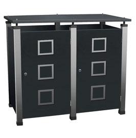Mülltonnenbox Pacco E Quad2 für zwei 240 Liter Mülltonnen mit Edelstahlapplikationen