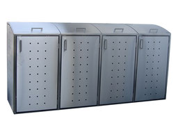 Mülltonnenbox Milbo für vier 120 Liter Mülltonnen komplett aus Edelstahl
