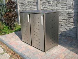 Mülltonnenbox Milbo XP für zwei 240 Liter Mülltonnen komplett aus Edelstahl