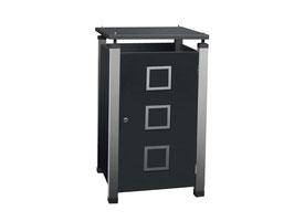 Mülltonnenbox Pacco E Quad2 für eine 240 Liter Mülltonne mit Edelstahlapplikationen