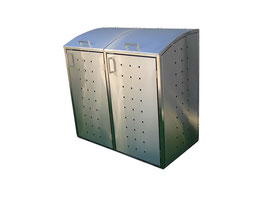 Mülltonnenbox Milbo für zwei 120 Liter Mülltonnen komplett aus Edelstahl