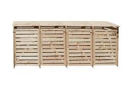 Mülltonnenbox Holz für vier 240 Liter Mülltonnen in Natur