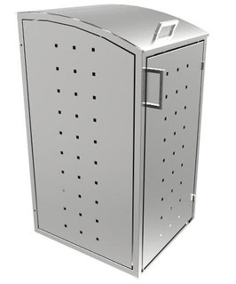 Mülltonnenbox Milbo für eine 240 Liter Mülltonne komplett aus Edelstahl