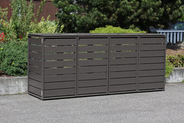 Mülltonnenbox Ecoplus 958058 für vier 120 Liter Mülltonnen in Standard-Grau (mit Rückwand)
