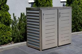 Mülltonnenbox Ebuk für zwei 240 Liter Mülltonnen in Edelstahloptik mit Klappdeckel