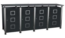 Mülltonnenbox Pacco E Quad2 für vier 240 Liter Mülltonnen mit Edelstahlapplikationen