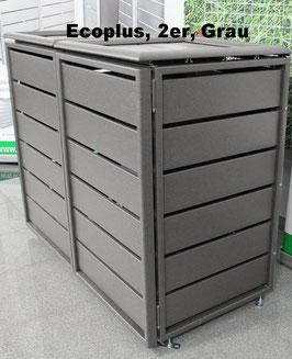 Müllbehälterbox Ecoplus für zwei 120 Liter Mülltonnen in Standard-Grau (mit Rückwand)