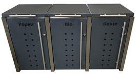 Mülltonnenbox Locco Riggs für drei 120 Liter Mülltonnen mit Klappdeckel