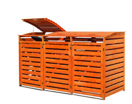 Mülltonnenbox Holz für drei 240 Liter Mülltonnen in Honigbraun