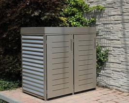 Mülltonnenbox Ebuk für zwei 120 Liter Mülltonnen in Edelstahloptik mit Pflanzwanne