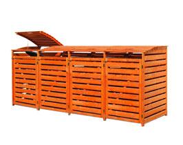 Mülltonnenbox Holz für vier 240 Liter Mülltonnen in Honigbraun