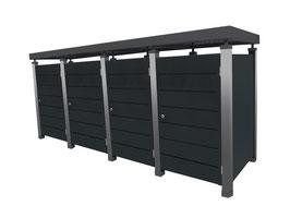 Mülltonnenbox Pacco E Line für vier 240 Liter Mülltonnen mit Pflanzwanne