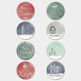 Grundpreis pro Stück = 0,07 € - 35 Merry Christmas Sticker Haus, Ilex, Tanne, Kranz