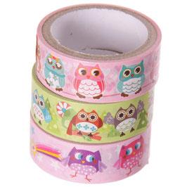 3er Set Masking Tape - Eulen