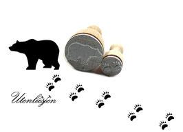 Bär und Fußspuren - Stempelset