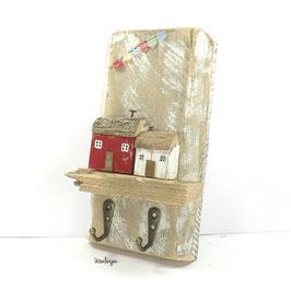 Treibholzdeko - Schlüsselboard, Schlüsselleiste kleine Häuser, Wimpelkette