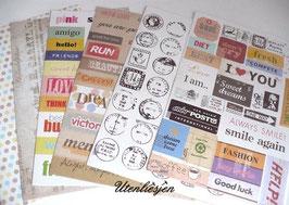 Grundpreis pro Stück = 0,03 € - 140 Vintage Sticker