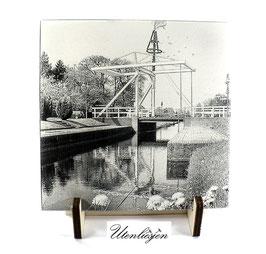 Fotogravur Ostfriesland - Fehnkanal mit Maibaum