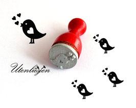 Vogel mit Herzen - Ministempel