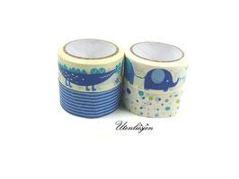 4er Set Masking Tape -  Baby, mit Elefant, Krokodil, Streifen und Punkten