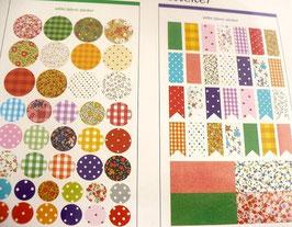 Grundpreis pro Stück = 0,03 € - 130 Fabric-Sticker in verschiedenen Formen und Mustern