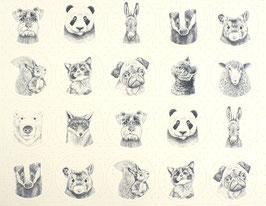Grundpreis pro Stück = 0,06 € - 40 Vintage-Sticker Tierköpfe
