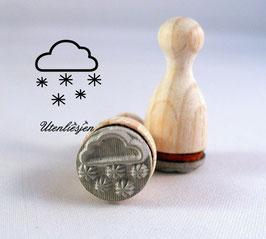 Wolke mit Schneeflocken - Ministempel