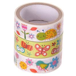 3er Set Masking Tape - Blumen, Tiere