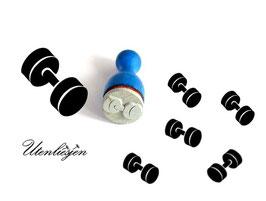 Hanteln, Gewichte - Ministempel