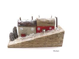 Treibholzdeko - Häuser am Hang im Schnee