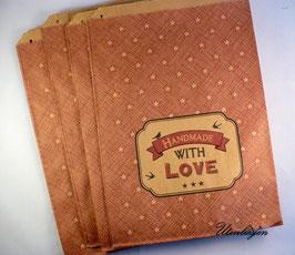 20 Kraft Papiertüten Handmade with Love