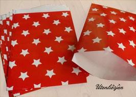 10 Papiertüten Sterne, rot, taupe, blau - XL 17 x 25 cm