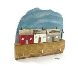 Treibholzdeko - Schlüsselboard, kleine Häuser, Laterne
